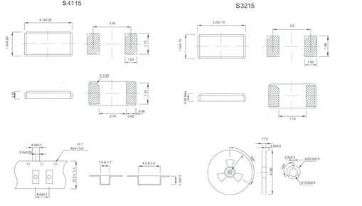 石英晶体音叉谐振器 smd (s3215, s4115)